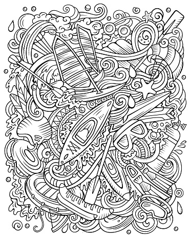 Water Sports hand drawn vector doodles illustration.