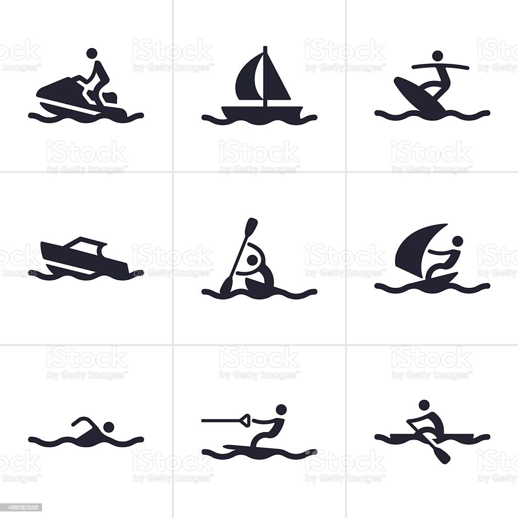 Water Sports Icons and Symbols vector art illustration