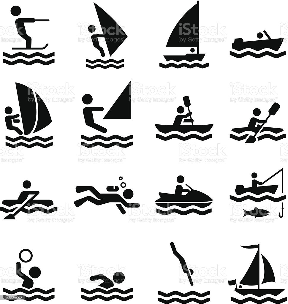 Water Sports Icons - Black Series vector art illustration