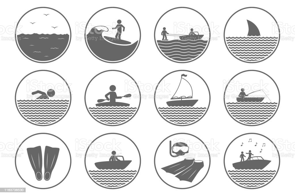 Water sports icons. Swimming, diving, kayaking, surfing symbols....