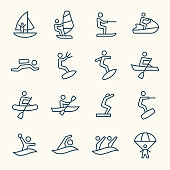 Water sports line vector icon set