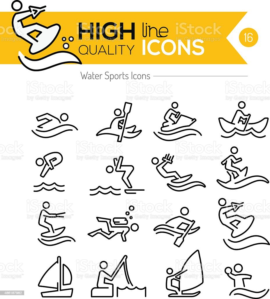 Water Sports Line Icons vector art illustration