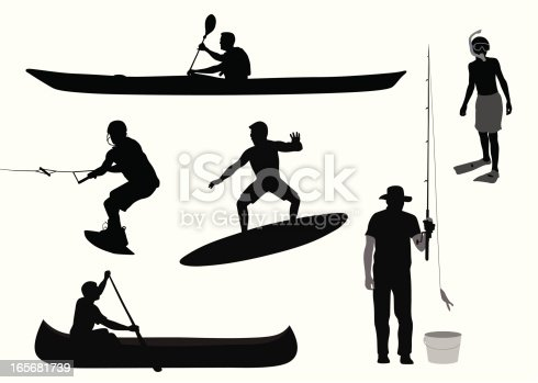 istock Water Sports Vector Silhouette 165681739