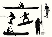 Water Sports Vector Silhouette