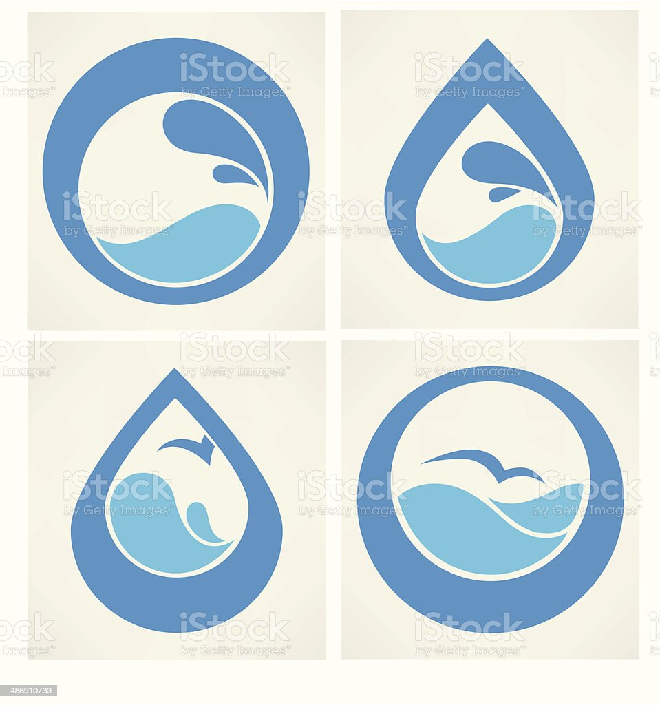water stickers, icons and symbols in flat style vector art illustration
