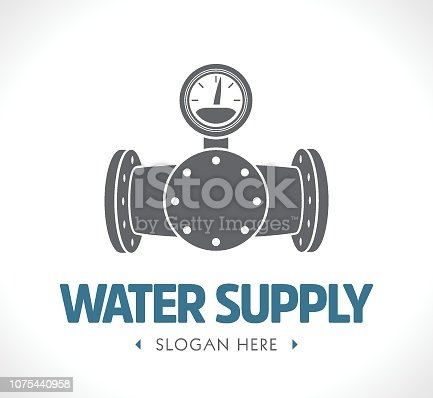 Water supply and sewage system - concept logo
