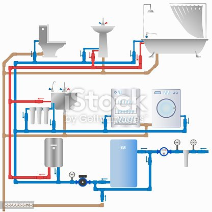 wasserversorgung und kanalisation im haus stock vektor art und mehr bilder von abfluss 889958628. Black Bedroom Furniture Sets. Home Design Ideas