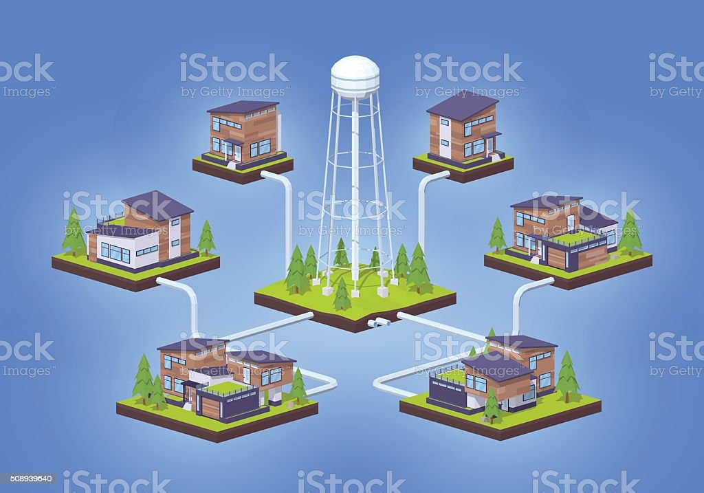 Water supply infographics vector art illustration