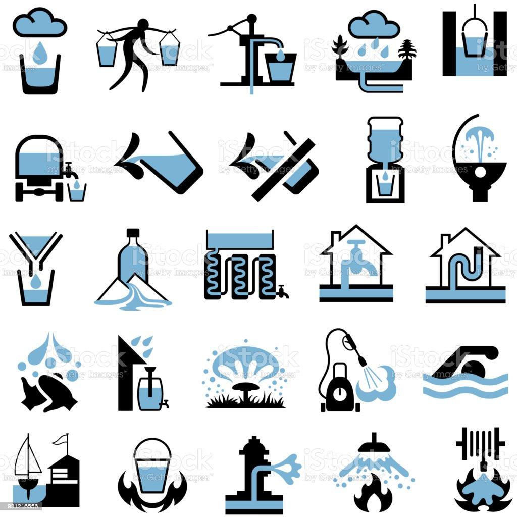 Ilustración de Suministro De Agua Fuentes Recursos Y Los Iconos De ...