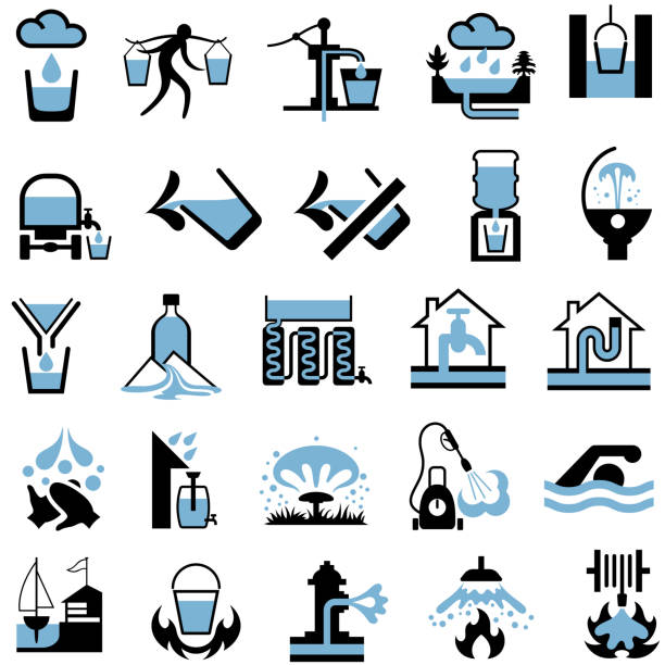 Water supply, sources, resources and conservation icons Water supply and usage symbols. Each symbol is isolated from background and consists of two flat colours, black and blue, fire hose stock illustrations