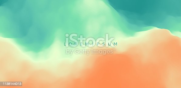 Water surface. Wave of ocean on the sandy beach. Nature background. Modern screen design for mobile app and web. Summer vector illustration.