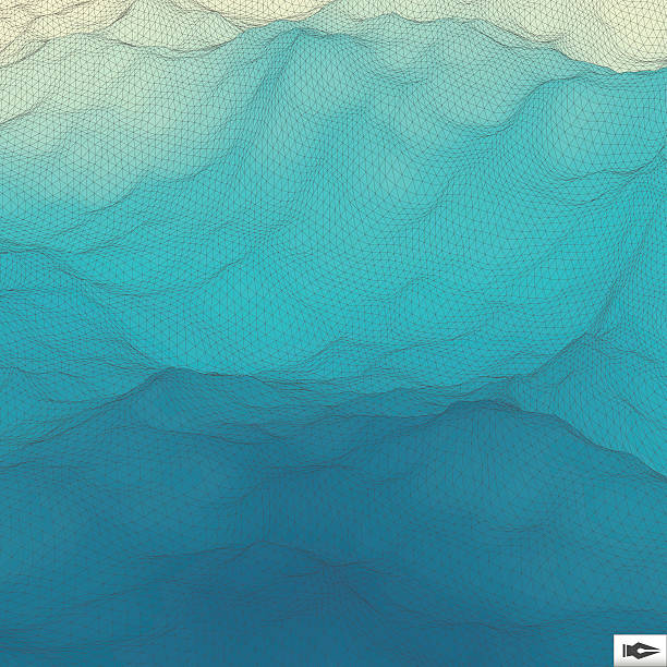 Water Surface. Wavy Grid Background. Mosaic. Water Surface. Wavy Grid Background. Mosaic. 3d Vector Illustration. Abstract Texture. tide stock illustrations