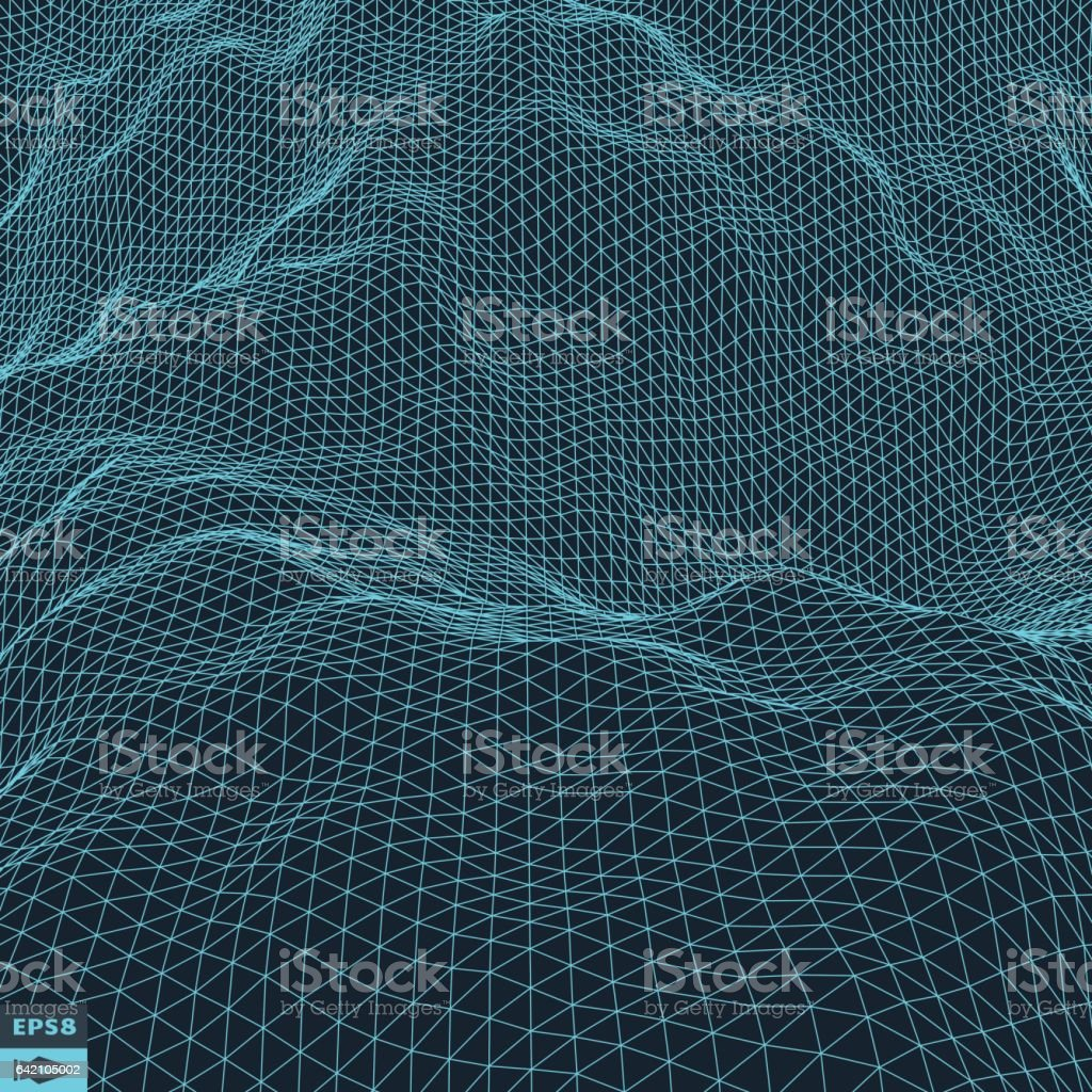 Water Surface. Wavy Grid Background. vector art illustration