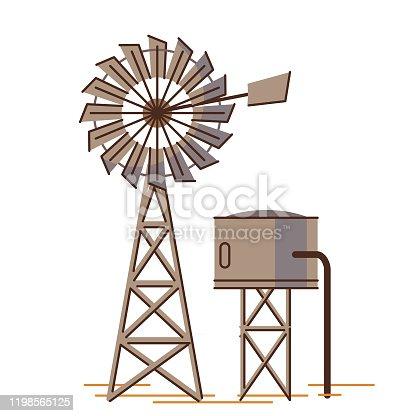 istock Water tank and windmill 1198565125