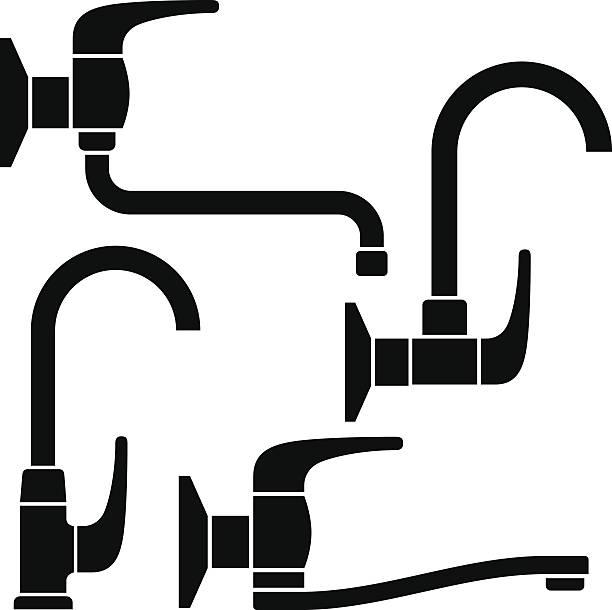 water tap black symbols - waschküchendekorationen stock-grafiken, -clipart, -cartoons und -symbole