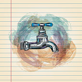 Drawing of Water tap in watercolour style on ruled paper. Elements are grouped.contains eps10 and high resolution jpeg.