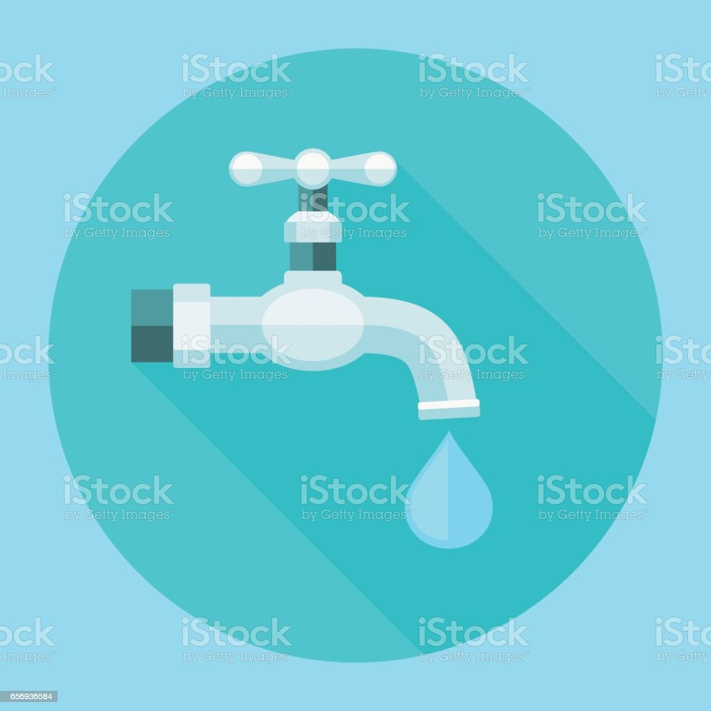 Water tap flat icon with long shadow vector art illustration