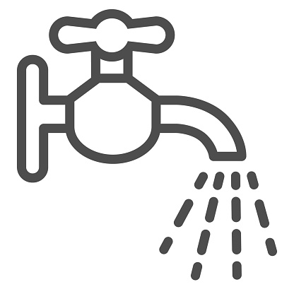 Water tap line icon. Faucet flows outline style pictogram on white background. Disinfection and sanitizing to avoid Coronavirus infection for mobile concept and web design. Vector graphics.