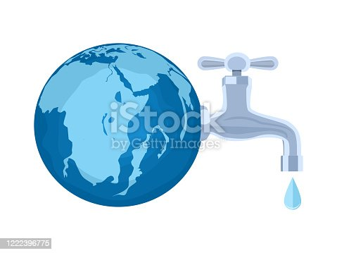 Water tap Water droplets and the world. The concept of water saving or conserving the world