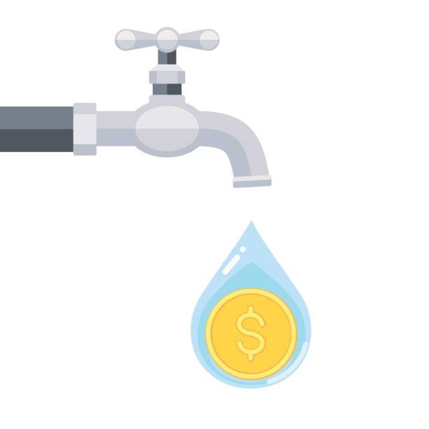 Water tap with coin inside water drop isolated on white background Vector illustration of water tap with coin inside water drop isolated on white background water wastage stock illustrations