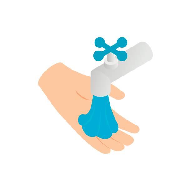Wasserhahn mit Drop und Hand-Symbol – Vektorgrafik
