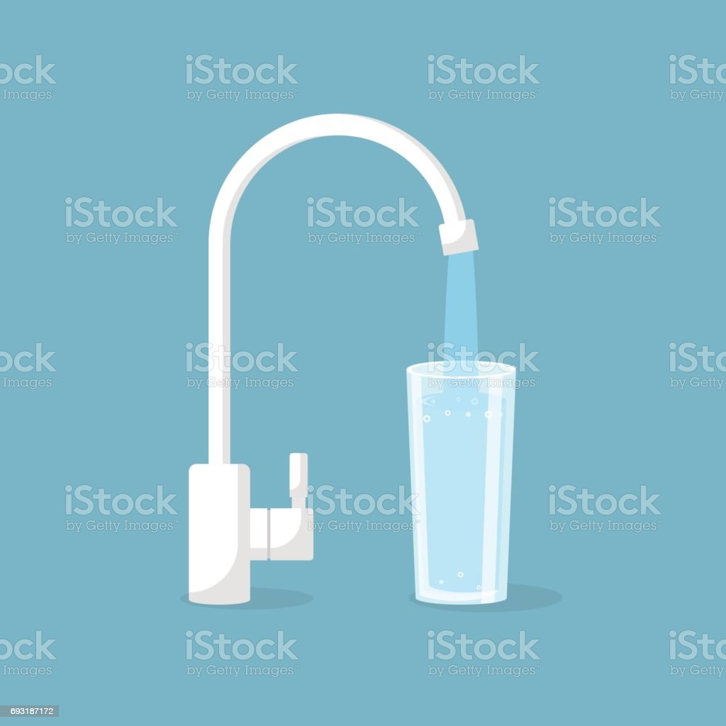 Water tap with glass vector art illustration