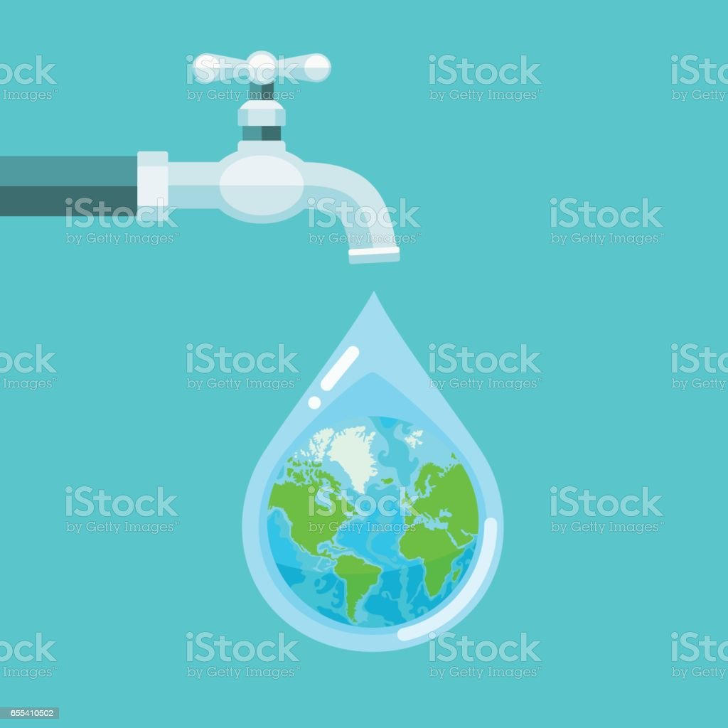 Water tap with the Earth globe inside water drop on blue background vector art illustration