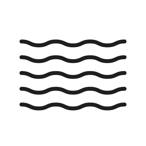 Water thin line icon. Summer waves illustration for ocean, river, sea, pool and liquids. Trendy minimal shape can be used as a icon, pattern, decoration vector eps10 squiggle stock illustrations