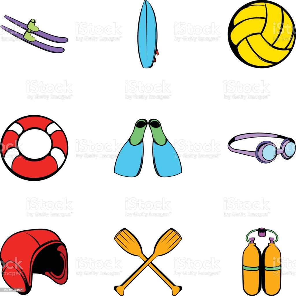 Water tourism icons set, cartoon style vector art illustration