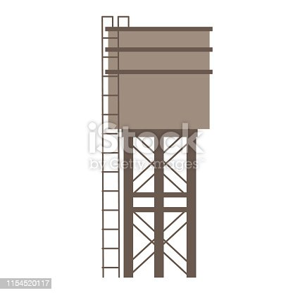 Water tower flat illustration. City life and everyday objects series.