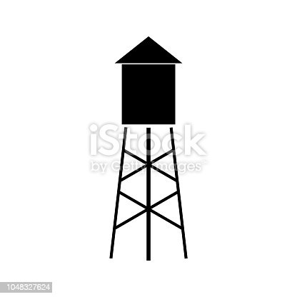 Water tower icon on white background