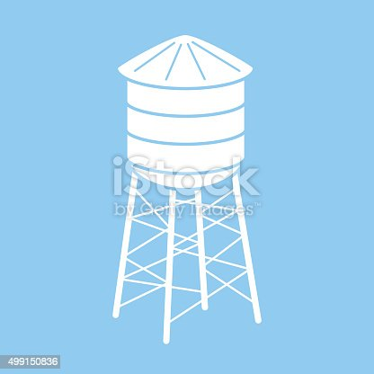 Vector illustration of a square blue and white water tower icon.