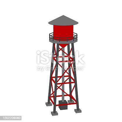 Water tower. Isolated on white background. Vector outline illustration.