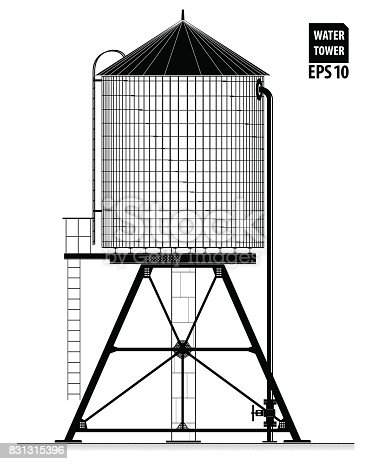 Water tower on the roof of a building in New York. Black contour with the drawing of details. Water supply and savings.