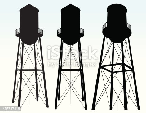 Three silhouette views of a water storage tower. Vector export from 3D render. See also: