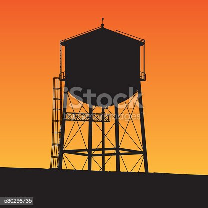 Vector silhouette of a water tower with an orange background.