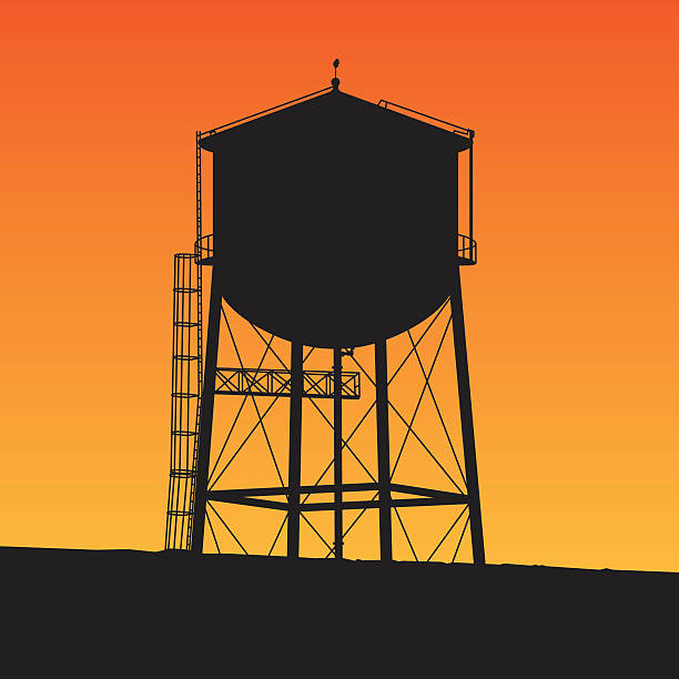 Best Water Tower Illustrations Royalty Free Vector
