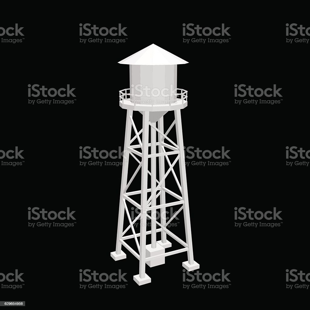 Water tower.Isolated on black background. Vector illustration. vector art illustration