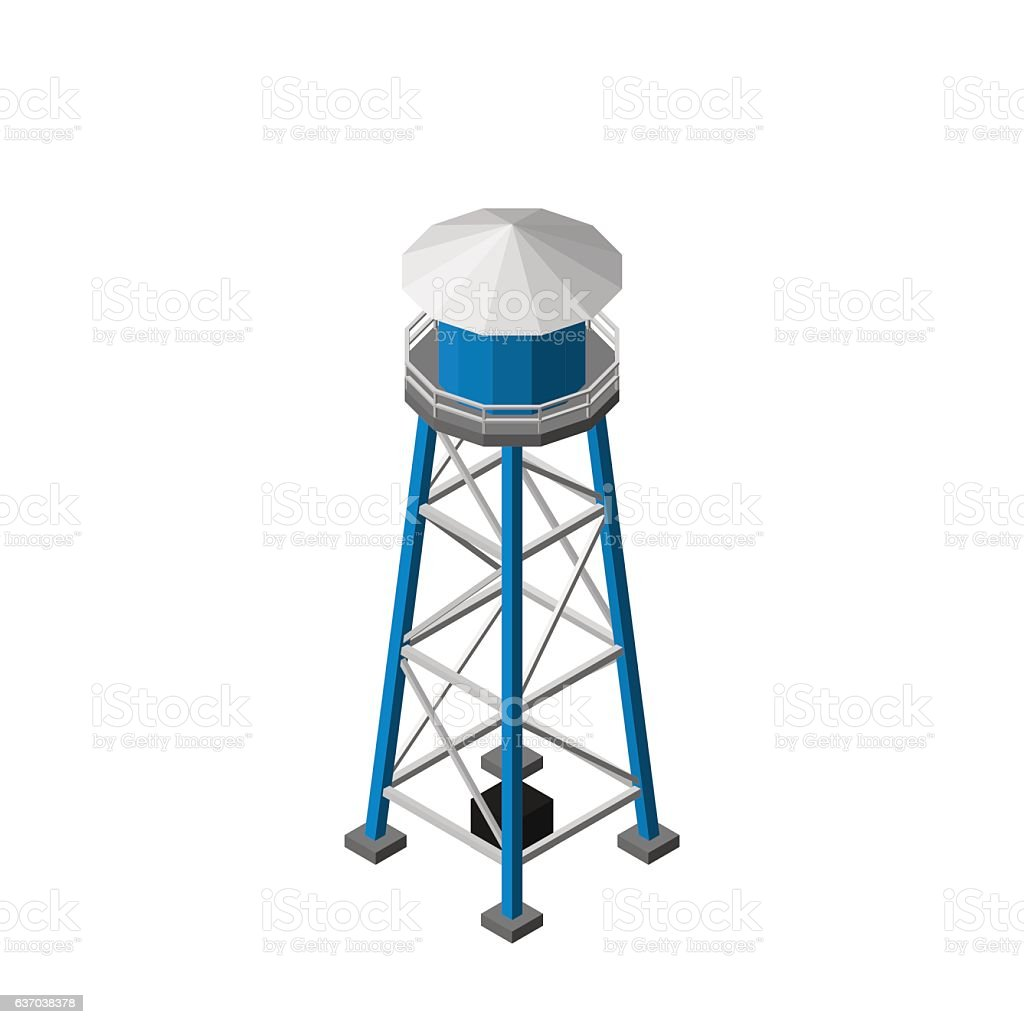 Water tower.Isolated on white background. Isometric view. vector art illustration