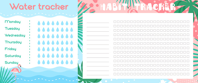 Water tracker list vector illustration, cartoon flat blank journal planner with tropical floral art design and flamingos for goal progress tracking