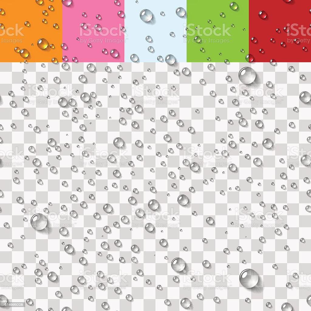 Gotas de água mais transparente padrão sem emendas - ilustração de arte em vetor