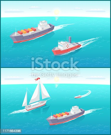 Water transport cargo boat with boxes for shipment on distances and sailing ship vector. Set of vessels for different purposes on sea ocean water