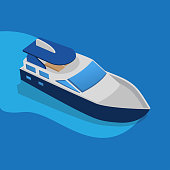Water transport, floating water transport boat vector