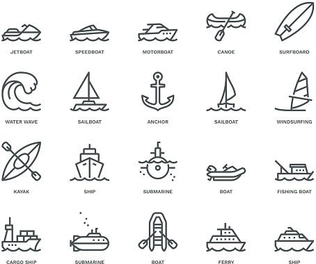 Water Transport Icons,  Monoline concept
