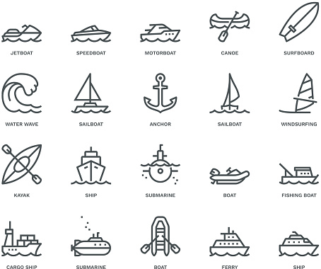 Water Transport Icons,  Monoline concept clipart
