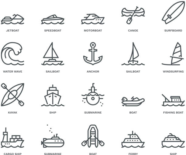 Water Transport Icons,  Monoline concept The icons were created on a 48x48 pixel aligned, perfect grid providing a clean and crisp appearance. Adjustable stroke weight. surf stock illustrations