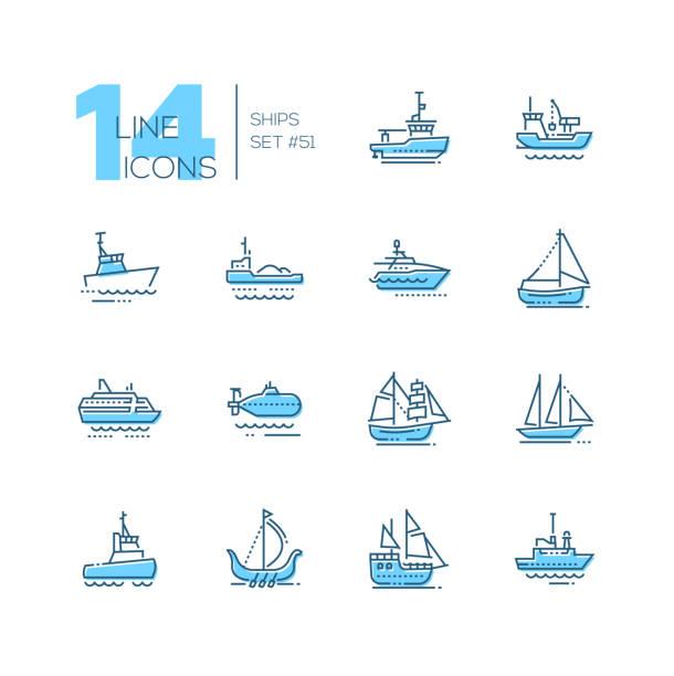 Water transport - thin line design icons set Water transport - thin line design icons set. Tugboat, dredging vessel, sailing yacht, self-propelled barge, patrol boat, ferry, submarine, brigantine, schooner, drakkar, pirate, survey, military ship pirate ship stock illustrations