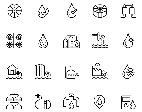 Water treatment icon set