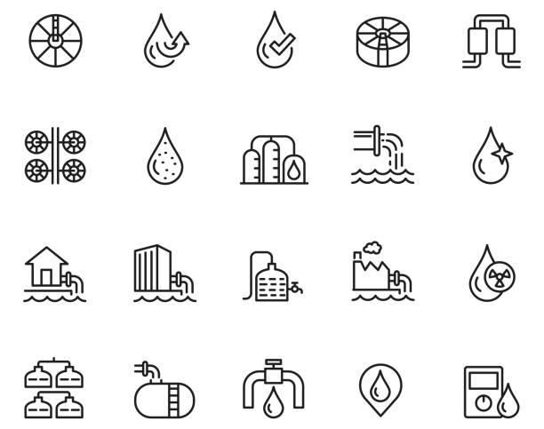 symbol der wasseraufbereitung - wasser stock-grafiken, -clipart, -cartoons und -symbole