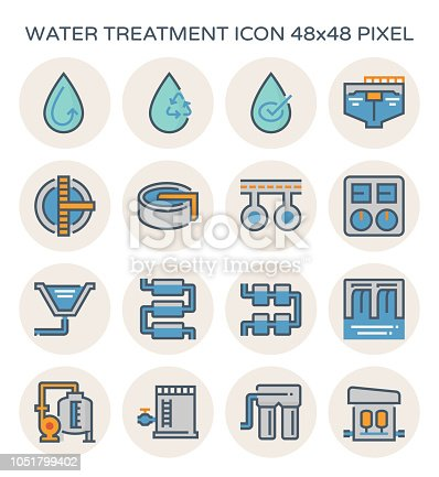 Water treatment plant and water filter icon set, 64x64 perfect pixel and editable stroke.